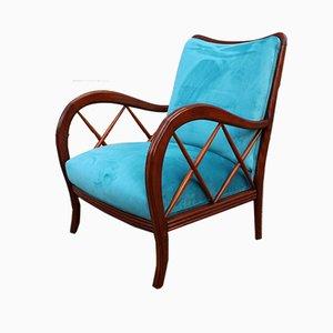 Walnut and Light Blue Velvet Armchair by Paolo Buffa, 1940s