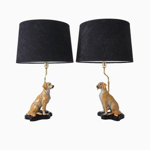 Ceramic Dog Table Lamps in the Style of Ugo Zaccagnini, Italy, 1980s, Set of 2