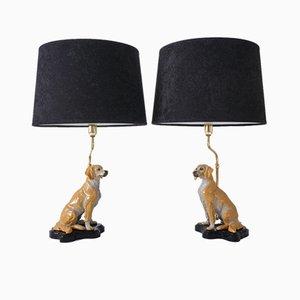Lampade da tavolo a forma di cane in ceramica, Italia, anni '80, set di 2