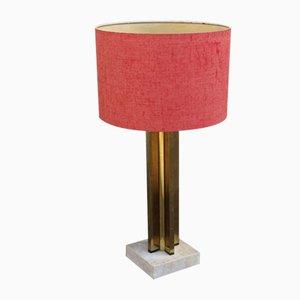 Lampada da tavolo in ottone, marmo e tessuto di Romeo Rega, anni '70