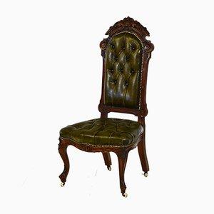 Viktorianischer Beistellstuhl aus Nussholz & Leder mit Knöpfen