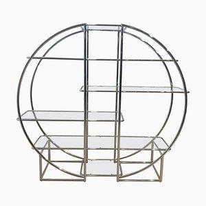 Estantería estilo Bauhaus Mid-Century de acero tubular cromado y vidrio, Alemania