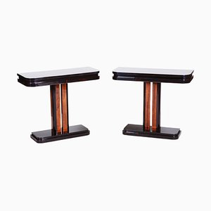 French Art Deco Bedside Tables in High Gloss Makasar, 1920s, Set of 2