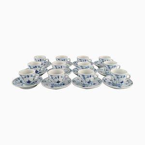 Tasses à Café Cannelées Bleues avec Soucoupes de Bing & Grøndahl, Set de 24