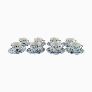 Tasses à Café Cannelées Bleues avec Soucoupes de Bing & Grøndahl, Set de 16