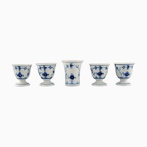 Blue Fluted Vase and Four Egg Cups from Bing & Grøndahl, 1920s, Set of 5