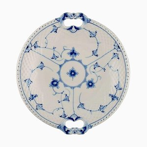 Blue Fluted Dish with Handles. Model Number 304 from Bing & Grøndahl, Mid-20th Century