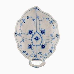 Blue Fluted Leaf-Shaped Bowl Model Number 356 from Bing & Grøndahl