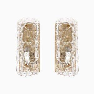 Lámparas de pared Mid-Century modernas de cristal de Carl Fagerlund para Orrefors. Juego de 2