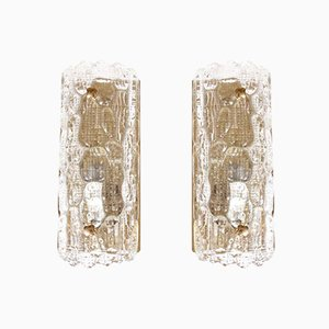 Mid-Century Modern Wall Lamps in Crystal by Carl Fagerlund for Orrefors, Set of 2