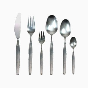 Scandinavian Mid-Century Modern Silver Plated Savoy Cutlery for 12 People, Set of 84