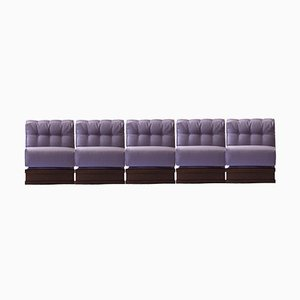 Italian Five-Seater Sectional Gooseneck Sofa, 1970s