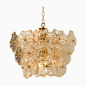 Glass and Brass Floral Three Tiers Light Fixture, 1970s