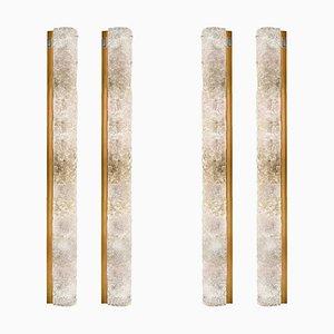 Lampada da parete grande in vetro di Murano soffiato e ottone di Hillebrand