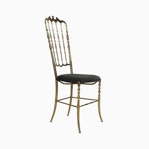 Italienischer Stuhl in Graublauem Sitz von Giuseppe Gaetano Descalzi für Chiavari