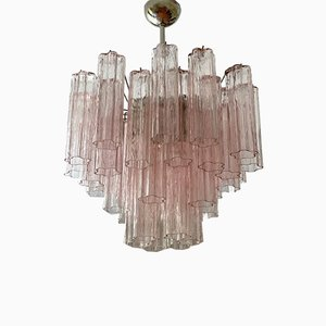 Medium Sized Pink Tubular Murano Glass Chandelier