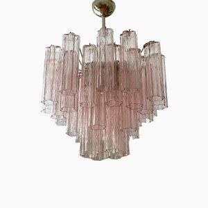 Mittelgroßer Rosa Röhrenförmiger Murano Glas Kronleuchter