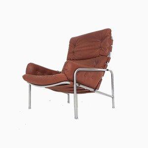 Brauner Leder SZ09 Nagoya Sessel von Martin Visser für 't Spectrum, Niederlande, 1969