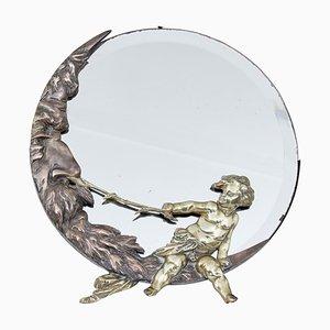 Art Deco Tischspiegel aus Bronze & Messing