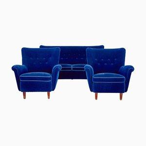 Mid-Century Blue Lounge Suite, 3er Set