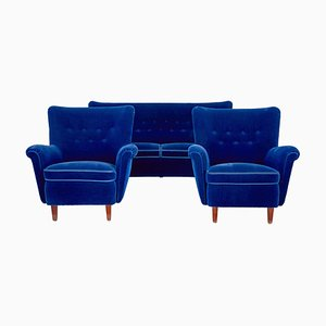 Mid-Century Blue Lounge Suite, Set of 3