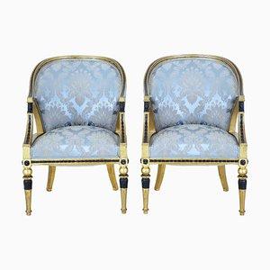 19th Century Swedish Gothenburg Gilt Armchairs, Set of 2