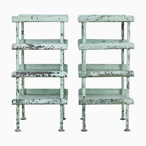 Soportes de almacenamiento industriales de acero, años 20. Juego de 2