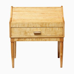 Mid-Century Birch Tambour Sewing Box on Stand