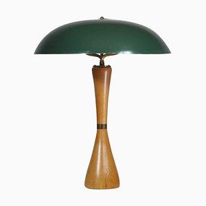 Lámpara de mesa con pantalla verde de Hans Bergström para Asea, Sweden, años 50