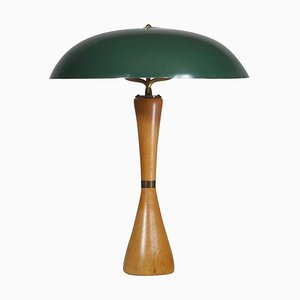 Table Lamp with Green Shade by Hans Bergström for Asea, Sweden, 1950s
