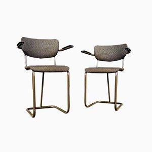 Vintage Stuhl mit Armlehnen und Braunem Bezug