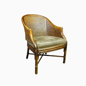 Vintage Rattan Chair with Leather Cushion