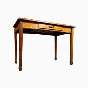 Brocante Tisch mit Leder ausgekleidetem Blatt, 1920er