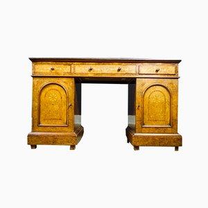 Antiker englischer Schreibtisch aus Leder
