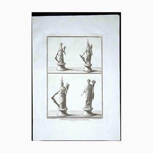 Estatuas romanas antiguas, siglo XVIII, grabado original