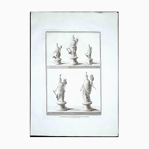 Ancient Roman Statues, 1700s, Original Etching
