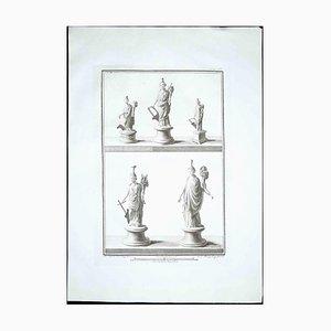 Estatuas romanas antiguas, década de 1700, Grabado original