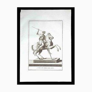 Estatua romana antigua, siglo XVIII, grabado original