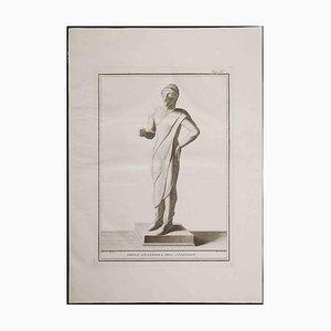 Acquaforte originale, antica statua etrusca, XVIII secolo