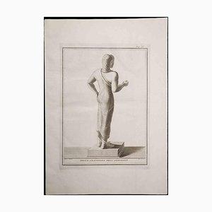Estatua etrusca antigua, siglo XVIII, grabado original