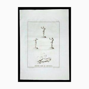 Phallus Fascinum in der antiken römischen Religion, 18. Jh., Original Radierung