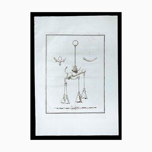 Falo Fascinum en la antigua religión romana, siglo XVIII, Grabado original