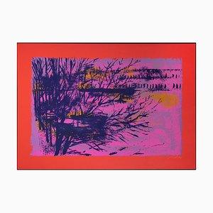 Litografia con paesaggio rosso/viola di Nicola Simbari, 1976
