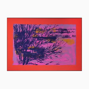 Red/Violet Landscape Lithograph by Nicola Simbari, 1976