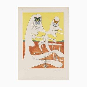 Salvador Dalí, Papillons de l'Anti-Matière, 1974, Pointe-Sèche, Gravure et Lithographie Couleur