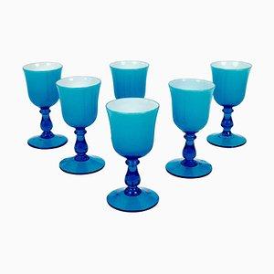 Copas de vino Mid-Century de cristal de Murano turquesa y blanco de Carlo Moretti. Juego de 6