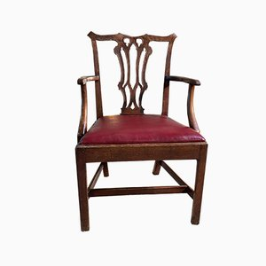 Antique Early Chippendale Mahogany Leather Elbow Chair