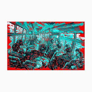 Zhao De-Wei, Public Transport Series, On the Bus, 2017, Olio su tela