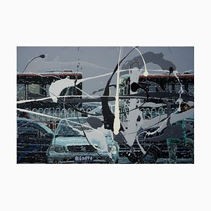 Zhao De-Wei, Urban Landscape Series, Bus Stop, 2013, Acrilico su tela
