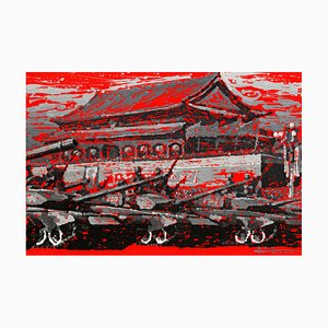 Zhao De-Wei, Urban Landscape Series, Red, 2013, Acrylic on Canvas